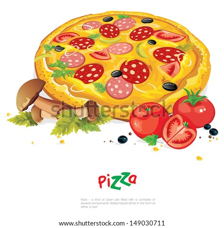 Appetizing pizza with mushrooms isolated on white. Abstract Elegance food illustration - stock vector
