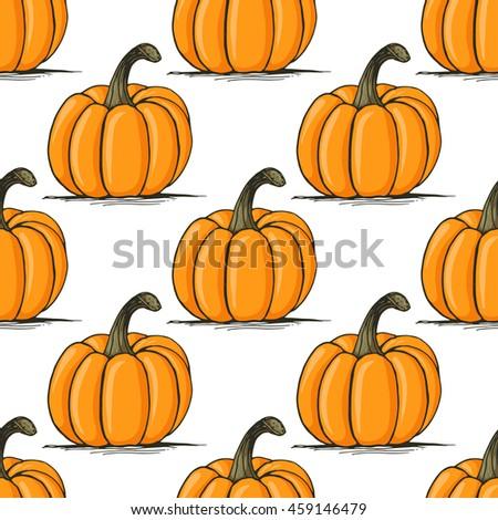 Appetizing sketch style pumpkin vector seamless pattern on white background. Halloween pumpkin background - stock vector