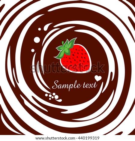 Appetizing strawberry. Chocolate swirl background.  Vector illustration - stock vector