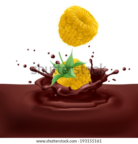 Appetizing yellow raspberries dipping into chocolate with splashes - stock vector