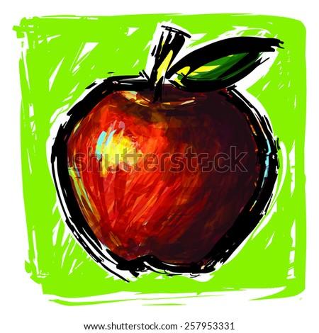 Apple acrylic paint  : vector eps.10 - stock vector