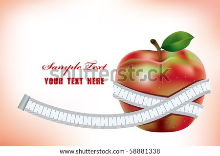 Apple and measurement. Diet image. - stock vector