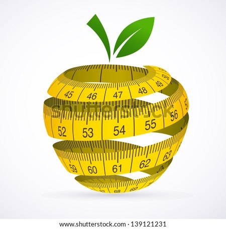 Apple and measuring tape, Diet symbol. Vector illustration - stock vector