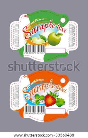 Apple and strawberry labels for food with fruits - stock vector
