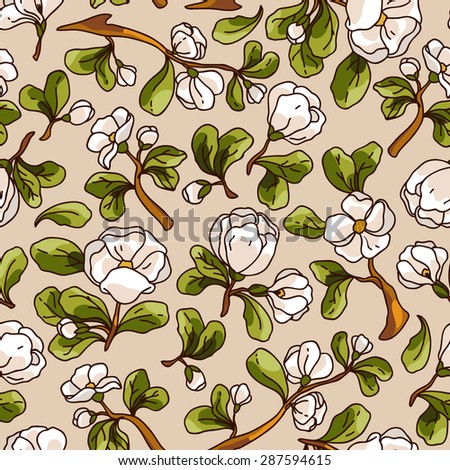 Apple blossom seamless pattern. Beautiful vector hand drawn texture. Romantic background for web pages, wedding invitations, textile, wallpaper. Vector, Isolated on white background. - stock vector