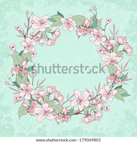 Apple blossom wreath. Beautiful spring floral background - stock vector