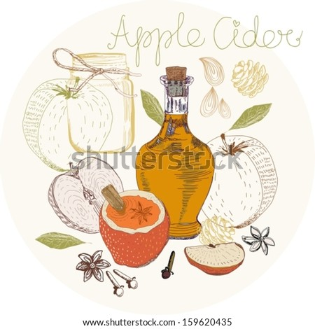 Apple Cider background, traditional Xmas food, Vector