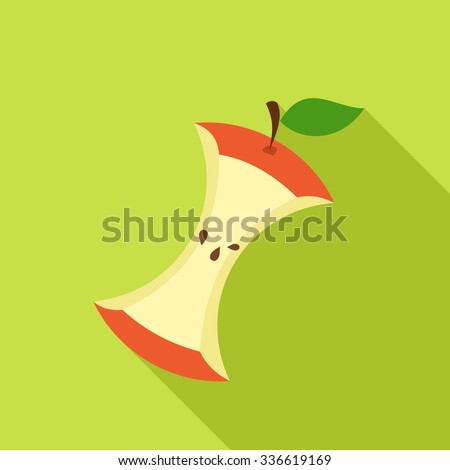 Apple Core in Flat style with shadow on green background. Vector Illustration - stock vector
