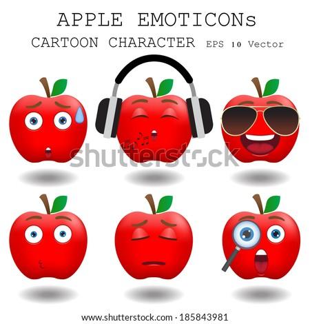 Apple emoticon cartoon character eps 10 vector - stock vector