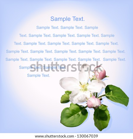 Apple flowers card with blue text