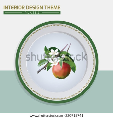 Amp blossom dinner plate design vector template home interior decor