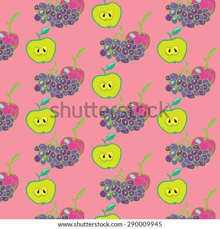 Apple Grapes Summer Pattern - stock vector
