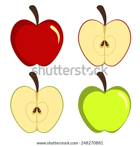 Apple green and red whole and cut - stock vector