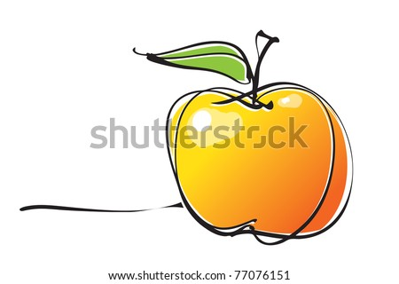 apple icon, freehand drawing linear style, vector