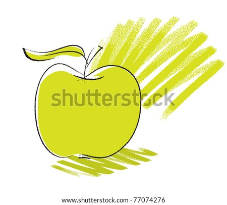 apple icon, freehand sketchy drawing, vector - stock vector