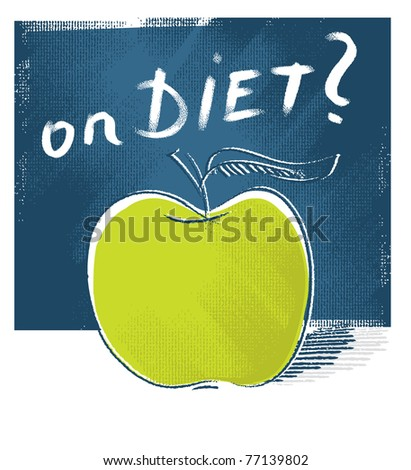 apple icon - on diet (freehand drawing and lettering) - stock vector