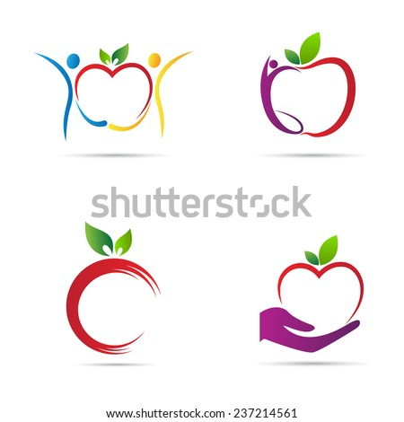Apple icons vector design represents fruit logos, signs and symbols. - stock vector