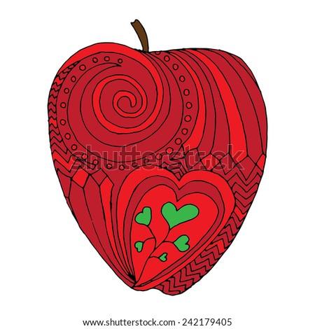 Apple illustration on simple white background - stock vector