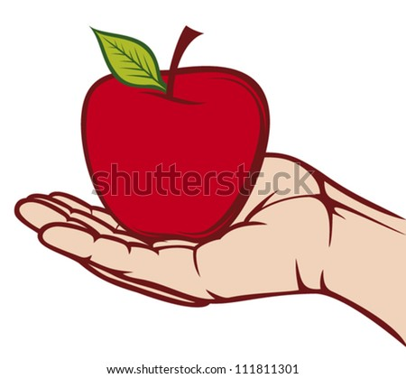 Drawing Hands Holding a Apple