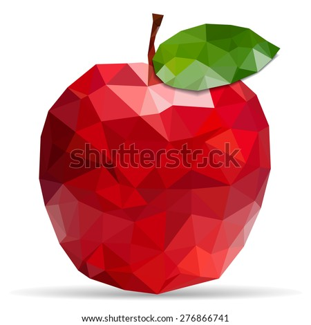 Apple made from triangles - stock vector