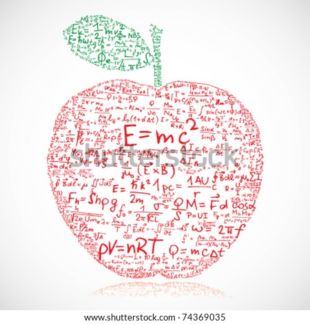 Apple made of equations and formulas - vector illustration - stock vector