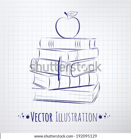 Apple on a pile of books. Vector illustration. - stock vector