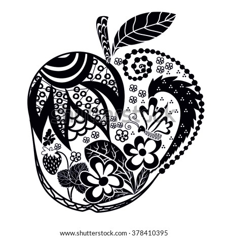 Apple ornament from a variety of floral elements. Patterned Apple. Doodle. Black-and-white pattern of leaves flowers and butterflies - stock vector