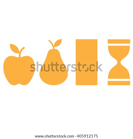 Apple, pear, hourglass, rectangle shapes. Silhouette female body types icon. Vector illustration. Body types icon. - stock vector