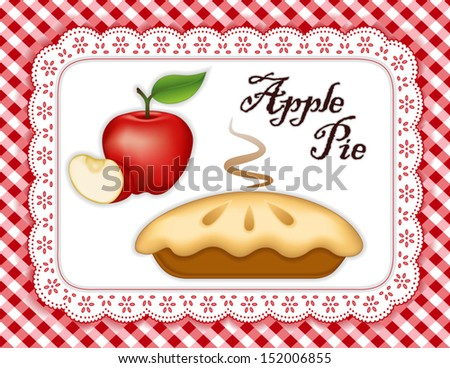 Apple Pie, ripe fruit, slice, white eyelet lace doily place mat, red gingham check background. Tasty sweet fresh baked dessert. See other fruits in this series. EPS8 includes gradient mesh.  - stock vector
