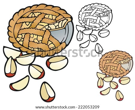 Apple pie, with variations - stock vector