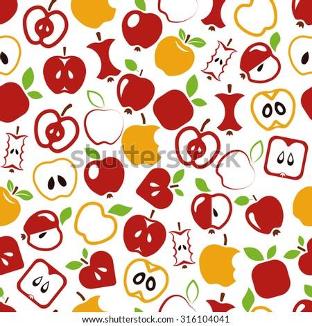 apple seamless pattern - stock vector