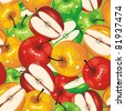 Apple Seamless Pattern. Stylish ornamental vector illustration. Fruits texture. - stock vector