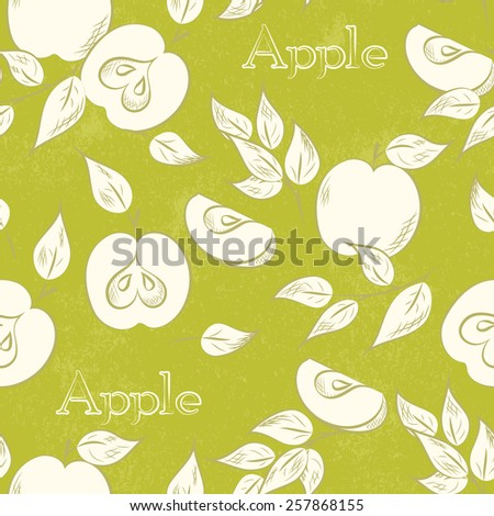 Apple seamless pattern . Vector illustration. Retro fruit design. Vector old paper texture background. - stock vector
