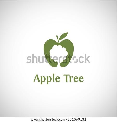 Apple tree abstract logo vector design template - stock vector