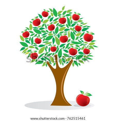 Apple Tree Fruit Tree Vector Illustration Stock Vector ...