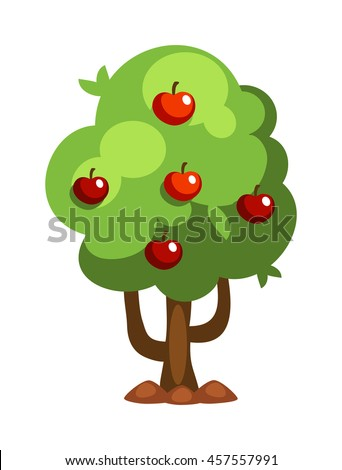Apple tree isolated on white background and orange tree vector nature fruit tree. Garden green apple tree design and agriculture natural plant. Sweet summer tangerine green apple tree. - stock vector
