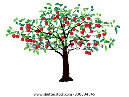 Apple tree on white background ,Vector illustration - stock vector