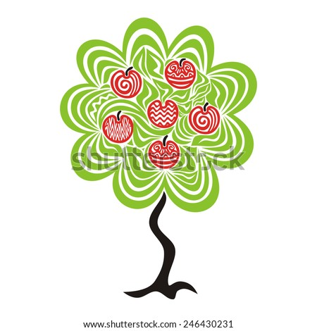 Apple tree pattern vector illustration - stock vector