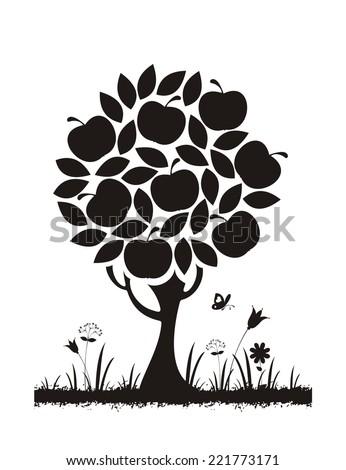 Apple tree. Vector silhouette.  - stock vector