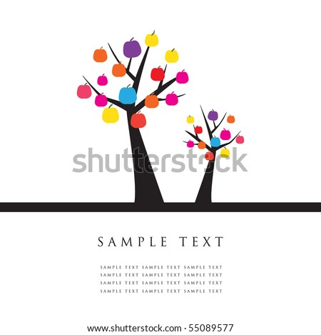 Apple trees. Design for greeting card - stock vector