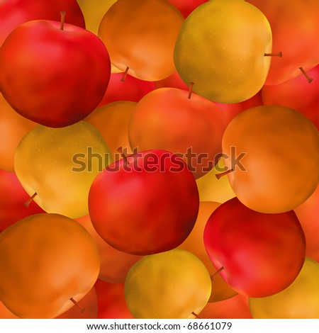 Apple vector color background, fruit design, eps10 - stock vector