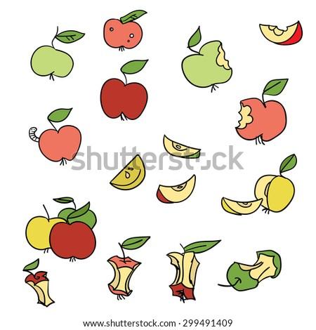 Apple vector symbol set - stock vector