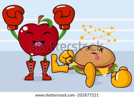 Apple vs burger, healthy fight - stock vector