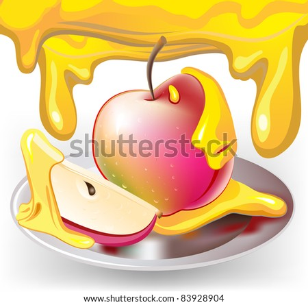 Apple with honey, traditional jewish celebrate symbol of new year - stock vector