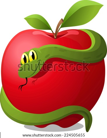 Apple with Snake Evil Temptation, with red apple and green snake vector illustration. - stock vector