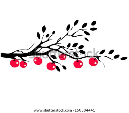 Apples on tree branch - stock vector