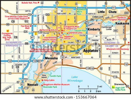 Appleton Wisconsin Area Map Stock Photo Photo Vector Illustration