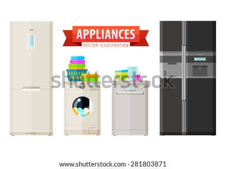 appliances icons. set of elements - refrigerator, washing machine, dishwasher, kitchen utensils, laundry - stock vector