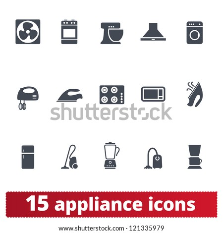 Appliances icons: vector set of domestic electric machines - stock vector