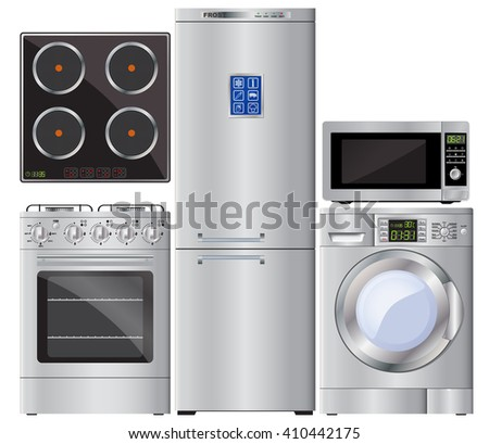 Appliances. Set. Gas cooker, hob, refrigerator, washing machine, microwave. Gas stove. Kitchen appliances. Vector image. - stock vector